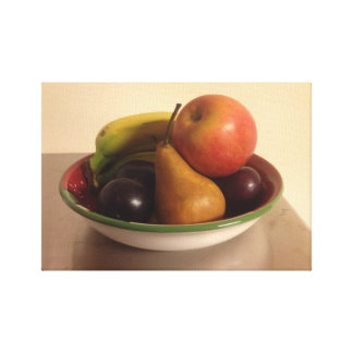 Still Life with Apple, Bananas, Pear and Plums Stretched Canvas Prints
