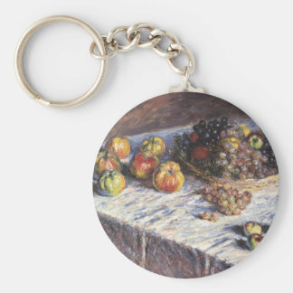 Still Life with Apples and Grapes by Claude Monet Keychain