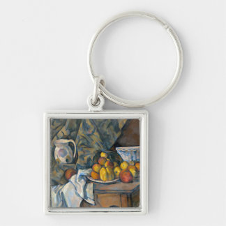 Still Life with Apples and Peaches, c.1905 Silver-Colored Square Key Ring