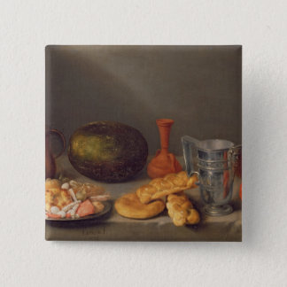 Still life with bread, 1648 15 cm square badge