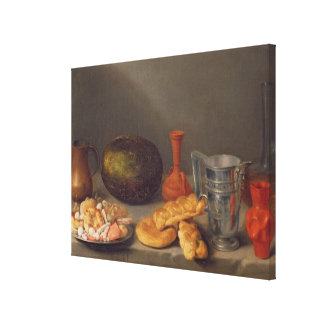 Still life with bread, 1648 stretched canvas prints