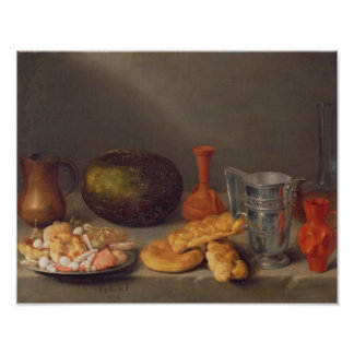 Still life with bread, 1648 poster