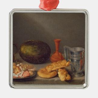 Still life with bread, 1648 Silver-Colored square decoration