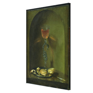 Still Life with Bread and Wine Glass Canvas Print
