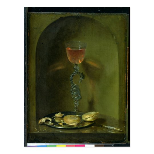 Still Life with Bread and Wine Glass Postcard