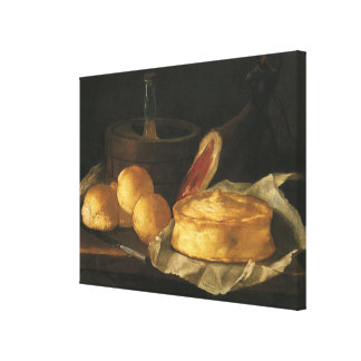 Still Life with Bread Tart and Ham, Giuseppe Recco Stretched Canvas Print