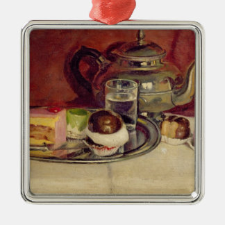 Still Life with Cakes and a Silver Teapot (oil on Christmas Ornament