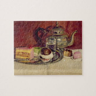 Still Life with Cakes and a Silver Teapot (oil on Jigsaw Puzzle