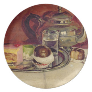 Still Life with Cakes and a Silver Teapot (oil on Plate