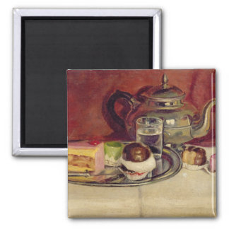 Still Life with Cakes and a Silver Teapot (oil on Square Magnet