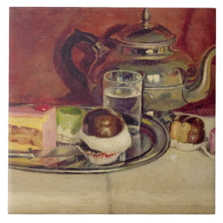Still Life with Cakes and a Silver Teapot (oil on Tile
