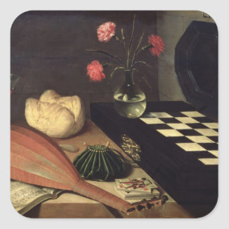 Still Life with Chess-board, 1630 Square Sticker
