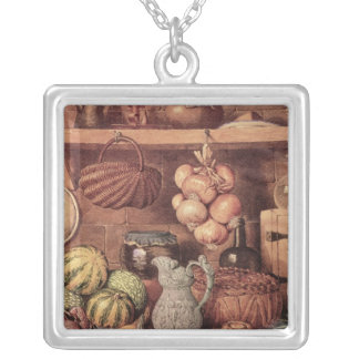Still life with Christmas Food Silver Plated Necklace