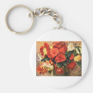 Still Life with Chrysanthemums Basic Round Button Key Ring