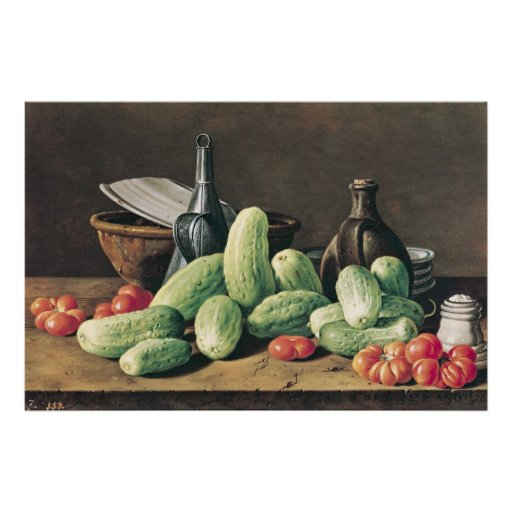 Still Life with Cucumbers and Tomatoes Print