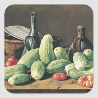 Still Life with Cucumbers and Tomatoes Square Sticker