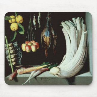 Still life with dead birds, fruit and mouse mat
