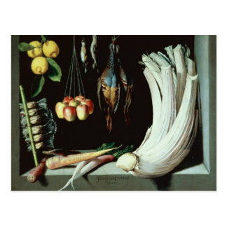 Still life with dead birds, fruit and postcard