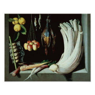Still life with dead birds, fruit and poster