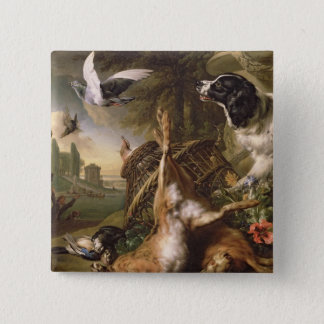 Still Life with Dead Game and Hares 15 Cm Square Badge