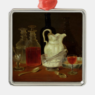 Still Life with Decanters Silver-Colored Square Decoration