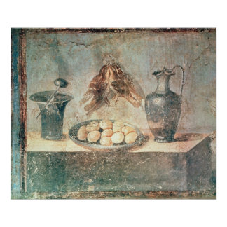 Still life with eggs and thrushes poster