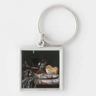 Still Life with Fish Platter Silver-Colored Square Key Ring