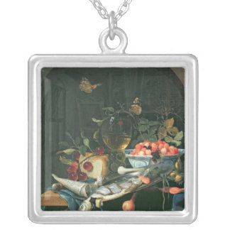 Still Life with Fish Platter Silver Plated Necklace
