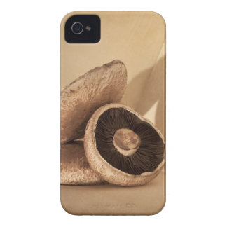Still life with flat mushrooms and dramatic iPhone 4 cover
