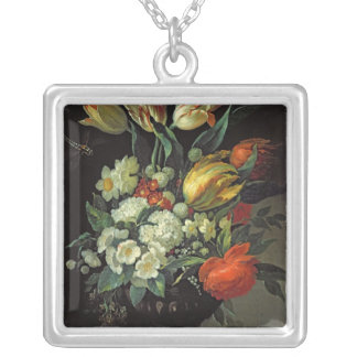 Still Life with Flowers, 1764 Silver Plated Necklace