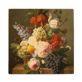 Still Life with Flowers and Fruit, 1827 Wood Coaster