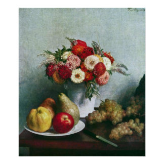 Still-life with flowers and fruit by Fantin-Latour Poster