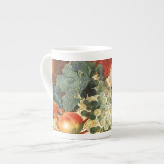 Still life with flowers and fruit bone china mugs