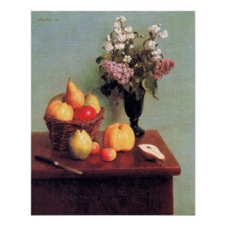 Still life with flowers and fruits - Fantin-Latour Print