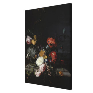 Still Life with Flowers and Insects Canvas Print