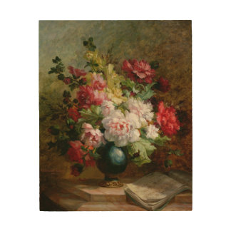Still life with flowers and sheet music wood print