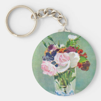 Still Life With Flowers by Manet Key Chain