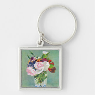 Still Life With Flowers by Manet Silver-Colored Square Key Ring