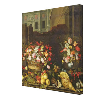 Still Life with Flowers, Fruits and Shells Canvas Print