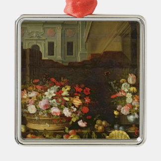 Still Life with Flowers, Fruits and Shells Silver-Colored Square Decoration