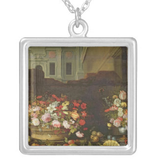 Still Life with Flowers, Fruits and Shells Silver Plated Necklace