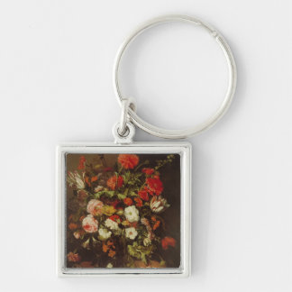 Still Life with Flowers Silver-Colored Square Key Ring