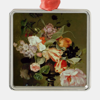 Still life with flowers Silver-Colored square decoration