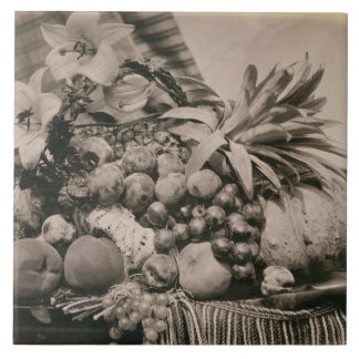 Still Life with Fruit, 1860 (sepia photo) Tile