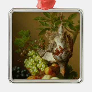 Still Life with Fruit and a Dead Partridge Silver-Colored Square Decoration
