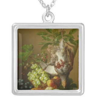 Still Life with Fruit and a Dead Partridge Silver Plated Necklace