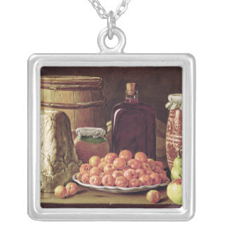 Still Life with Fruit and Cheese Silver Plated Necklace
