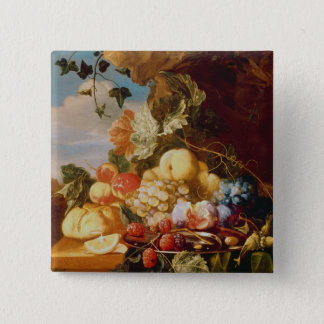 Still life with fruit and flowers 15 cm square badge
