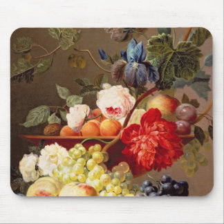 Still life with fruit and flowers mouse pad