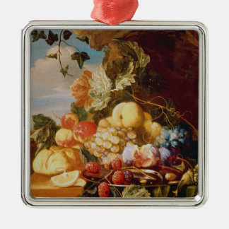 Still life with fruit and flowers Silver-Colored square decoration